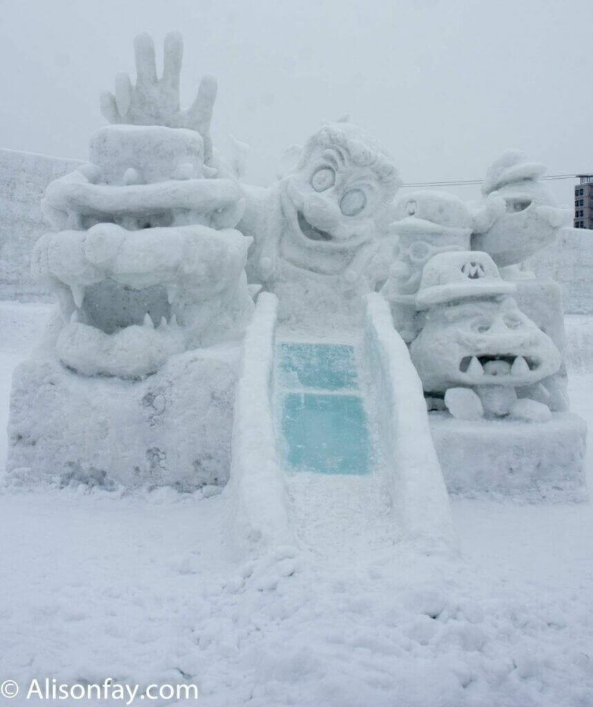 Mario World Snow Sculpture at the 59th Asahikawa Snow Festival
