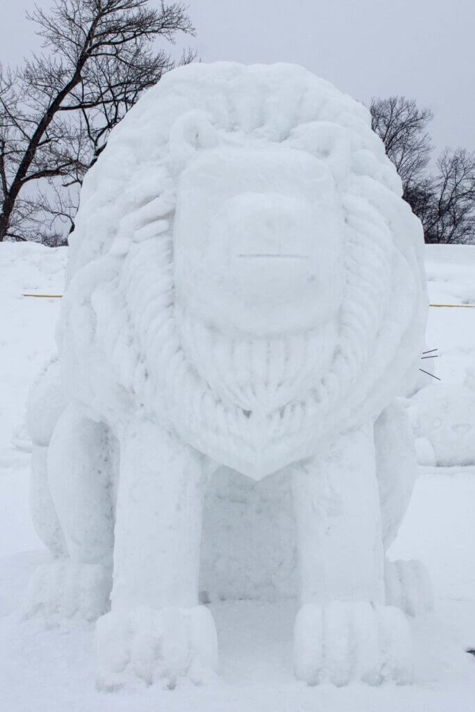 Lion snow sculpture at the 59th Asahikawa Snow Festival