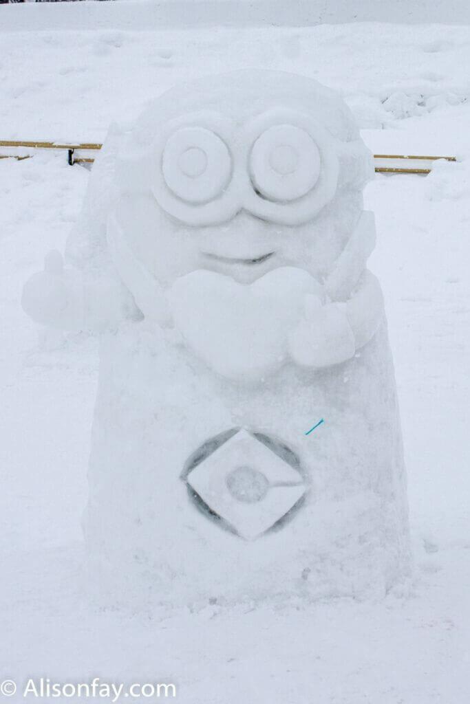 Minion snow sculpture at the 59th Asahikawa Snow Festival