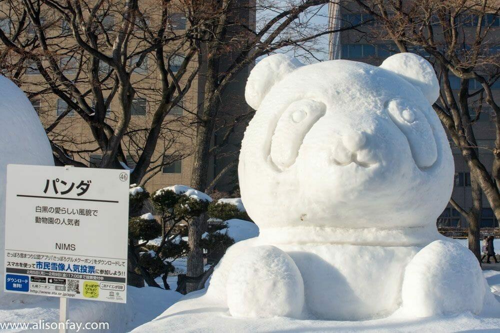 Panda Sculpture at the Sapporo Snow Festival