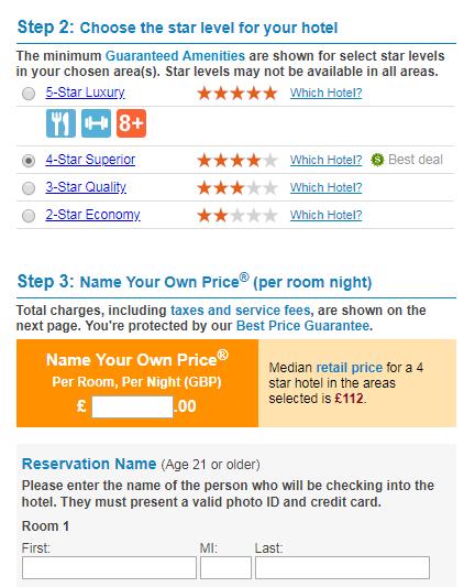 Bidding for a hotel room on Priceline.com