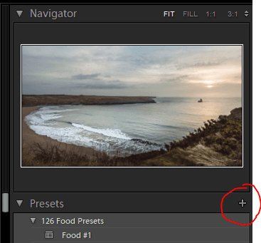 Screenshot of the Adobe Lightroom Preset option with the + button circled.